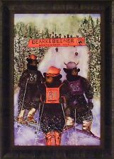 BEARKEBEINER SKIERS by Karen Bicknell 21x29 FRAMED PRINT Bear Ski Race PICTURE