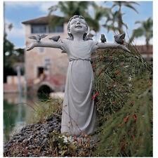 Little Bird Lover Girl Garden Sculpture Patio Statue - Medium