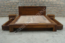 Wooden Storage Queen Size Bed with 2 side drawers & 2 matching bedside cabinet