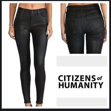 Sz 24 Citizen's Of Humanity Rocket High Rise Slick Skinny Black Coated Jeans