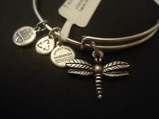 Alex and Ani DRAGONFLY Russian Silver Finish Charm Bangle New W/Tag Card & Box