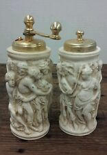Vintage Italian carved salt shaker and pepper grinder Made in Italy Artistic