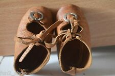 Antique Brown Leather Doll Shoes  Excellent Condition Great for Antique Doll