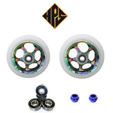pair pro kick stunt scooter wheels metal core neo chrome 110mm abec 11 bearing 9