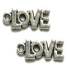 10 Pcs 7x17mm LOVE Tibetan Silver Alloy Charm Pendants - A0024