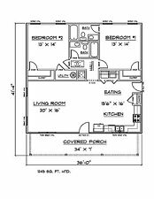 House Plans for 1245 Sq. Ft. 2 Bedroom 2 Bath House