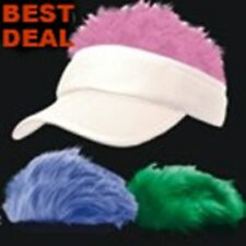 WHITE Spiked Flair Hair VISOR Fake Hat Wig Cap 3 PC SET