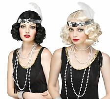 1920's 40s Flirty Flapper Black Wig & Headband Fancy Dress Gangsters Moll