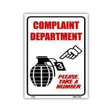 "Novelty Sign - Complaint Department Take a Number, Hand Grenade - 12"" x 9"" Metal"