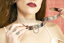 "15.5"" New Locking BDSM Slave Restraint Flat Neck Steel Collar Choker with Ring"
