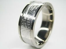 GIBEON IRON NICKEL METEORITE TITANIUM 8MM BAND RING 9 S