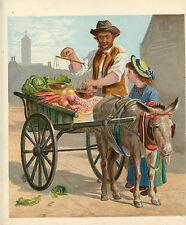 FARMER'S MARKET FARM STAND VEGETABLES PRODUCE DONKEY CART GIRL ANTIQUE PRINT