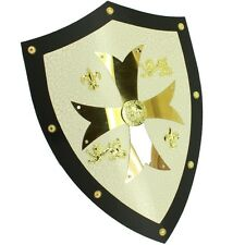 Medieval Royal Knight Crusader Shield /w Gold Cross - Renaissance European