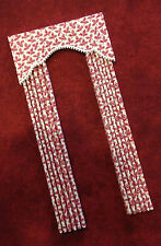 Red & White Dollhouse Curtains -Miniature Doll House