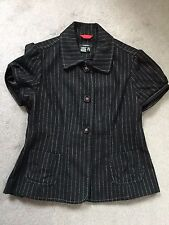 CASTRO- WOOL BLEND JACKET WITH SHORT SLEEVES IN BLACK WITH WHITE STRIPES-SIZE 10