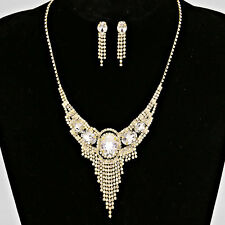 Gold and Clear Pageant Rhinestone Fringe Necklace Set
