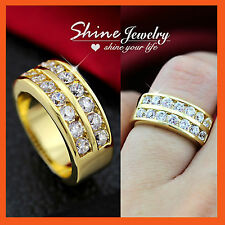 9K YELLOW ROSE WHITE GOLD GF PAVE DIAMONDS SET CHUNKY WEDDING BAND ETERNITY RING