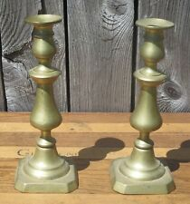 Pr (2) Solid Brass Push Candleholders 19th c Victorian Antique Candle Sticks