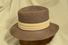 Classic 50's Lee Panama Water Repellent Brown Straw Fedora Size 7