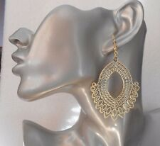 Fab Lightweight Gold Dangly Ornate Drop Earrings - Clip-on By Request