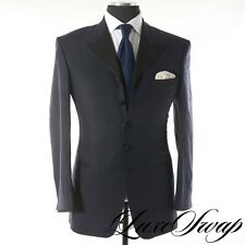 Domenico Spano Custom Midnight Shantung Black Grosgrain Smoking Jacket 2pc Cuffs