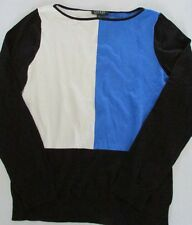 NWT Lauren Ralph Lauren Color Blocked Cotton/Silk Sweater Black/Blue/Pearl XL