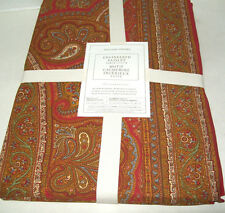 """Williams Sonoma Red Engineered Paisley Cotton Dinner Tablecloth 70"""" X 108"""" New"""