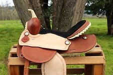 "15"" ROUGH OUT RAWHIDE WESTERN LEATHER TRAIL BARREL RACING HORSE SADDLE TACK"