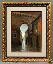 "20th Century Oil Painting signed Gully ""Dark Alley after Rainfall"""