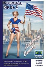 Master Box Pin Up Series US Army Girl Figure BETTY W/ Flag Model kit 1/24