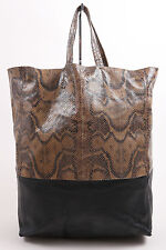 "Celine Brown Black Embossed Snakeskin Leather ""Vertical B-Cabas"" Tote Bag"