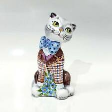 """Middle Russian Majolica art pottery figurine """"Cat"""" (6"""" height). Hand painted #3"""