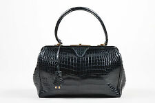 VINTAGE Hermes Black Gold Tone Crocodile Leather Satchel Frame Handbag