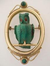 Antique Victorian 14k Gold & Carved Malachite 3D Full Bodied OWL Cameo Brooch