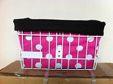 BICYCLE BASKET LINER PINK POLKA DOTS BEACH CRUISER CHOPPER COMFORT BIKES CYCLING