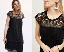 ANTHROPOLOGIE NWT Crochet Tunic Dress by Maeve Cotton Black Lace Sz S Small $168