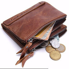 Men's Leather Bifold Credit Card Holder Double Zipper Coin Wallet Purse Clutch
