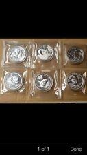 6pc china 1993-98 panda 1/2 oz silver  coins