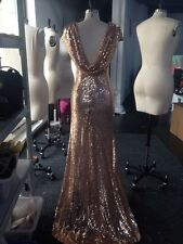 Cap Sleeve Long Sequin Bridesmaid Wedding Party Dresses Prom Formal Evening Gown