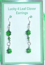 Lucky 4 Leaf Clover Earrings made with Swarovski Element Crystals on card in Bag
