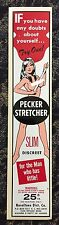 vtg condom machine decal vending novelty NOS water Pecker Stretcher Pin Up Girl