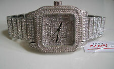 Men's Hip hop full Bling clubbing silver finish TECHNO PAVE Rapper Style watch