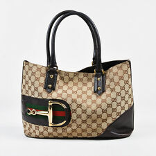"Gucci Brown & Beige Canvas & Leather 'GG' Monogram Web Horsebit ""Hasler"" Tote"