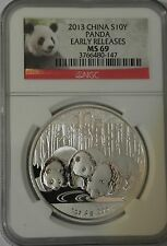 2013 1 oz Silver Chinese Panda Coin - MS-69 Early Releases NGC, Rare
