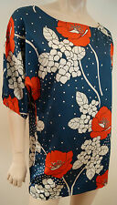 PAUL & JOE SISTER Navy Red Cream Silk Floral Batwing Short Sleeve Tunic Top Sz1
