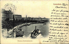 Schiffe 1900 Dampfschiff Themse London Great Britain England Thames Embankment