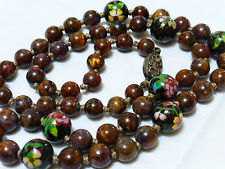 """Vintage Chinese CLOISONNE and BROWN JASPER Beads Necklace, Silver Clasp,  24"""""""