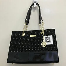 NEW ARRIVAL! ANNE KLEIN COAST IS CLEAR BLACK GOLD SHOPPER SATCHEL BAG PURSE $85