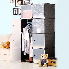 Interlocking 2 Columns 4 Tiers Wardrobe Plastic Storage Rack Clothes Organizer