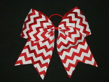 "NEW ""CHEVRON Red"" Cheer Bow Pony Tail 3 Inch Ribbon Girls Hair Cheerleading"